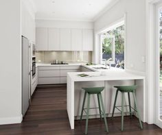 04 a white U-shaped kitchen with a breakfast zone and a large window - DigsDigs