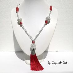 Choose to accessorize your office and smart casual outfits with this long necklace handmade with silver spheres, ruby red beads, and tassel. Smart Casual Outfit, Casual Outfits, Ruby Red, Agate, Jewerly, Tassels, Beaded Necklace, Beads, Silver