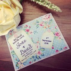 Printable Save the Date DIY Invitation - Blue floral polka Save the Date -DIY vintage wedding - Caligraphy save the date - cath kidson style...