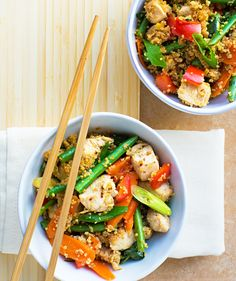 """Recipe from Haylie's new book, The Burn! The targeted nutrition inthis Quinoa """"Fried Rice"""" with Chicken will help your body make the enzymes it needs to melt the excess fat inthe hip, belly and butt area that's causing your clothes to fit a little snug. Get this delicious recipe on our blog. Food Words, Fast Metabolism Recipes, Fast Metabolism Diet, Metabolic Diet, Real Food Recipes, Diet Recipes, Healthy Recipes, Cooking Recipes, Healthy Food"""