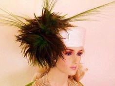Ivory Green Pillbox Hats Women's Designer FashionWeek Headwear Ida