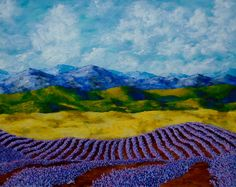 Lavender In Provence ORIGINAL ACRYLIC PAINTING 16 by MikeKrausArt