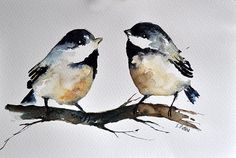 ORIGINAL Watercolor Painting Chickadee Birds in Neutral Colors 6x9.5 inch