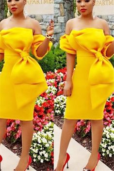 Available Sizes :S;XL Bust(cm) Waist(cm) Length(cm) Sleeve Length(cm) Type :Slim Material :Polyester Color :Yellow Decoration :Bow Pattern :Plain Collar :Collarless Length Style :K Dresses Short, Sexy Dresses, Cute Dresses, Evening Dresses, African Attire, African Wear, African Dress, Latest African Fashion Dresses, African Print Fashion