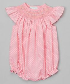 Look what I found on #zulily! Pink Polka Dot Bubble Romper - Infant by Rosalina #zulilyfinds