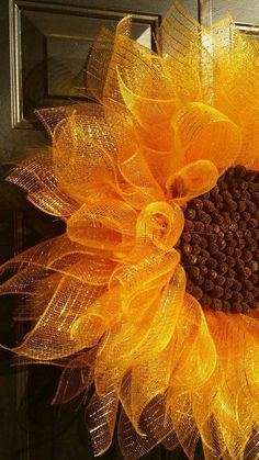 Brighten your entryway with this cheerful deco mesh sunflower!Did they use small brown pompoms for the center? dh Yellow Sunflower Wreath Deco Mesh Sunflower bySunflower Wreath Tutorial burlap sure flower wteathSunflower wreath, but could adapt to fl Wreath Crafts, Diy Wreath, Tulle Wreath, Mesh Wreath Tutorial, Witch Wreath, Wreath Ideas, Ornament Wreath, Deco Mesh Wreaths, Holiday Wreaths