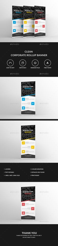 Clean Corporate Rollup Banner Template InDesign INDD #design Download: http://graphicriver.net/item/clean-corporate-rollup-banner/13460358?ref=ksioks