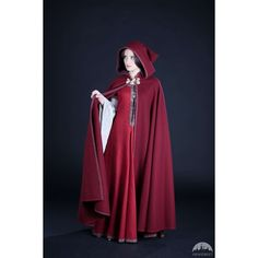 5   Woolen Coat Cloak Women's Cloak Labyrinth' ($207) ❤ liked on Polyvore featuring outerwear, red and women's clothing