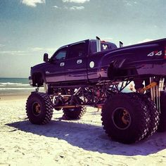 Duramax on the sand at the beach.