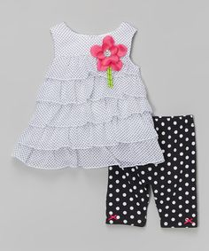 Look at this #zulilyfind! White Flower Ruffle Dress & Polka Dot Leggings - Toddler by Youngland #zulilyfinds