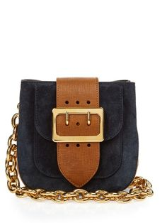 BURBERRY PRORSUM The Belt Suede And House-Check Shoulder Bag. #burberryprorsum #bags #shoulder bags #lining #suede