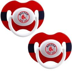 Boston Red Sox Red-Navy Blue Striped 2-Pack Team Logo Pacifiers    $8.95