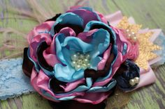 Pink Brown and Blue Headband Girls Hair by AldonasBoutique on Etsy