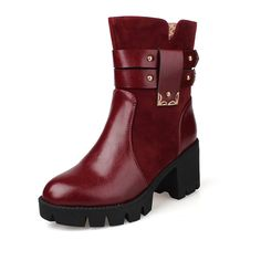 Susanny Fashion High Chunky Heel Round Toe Women's Fur Lining Ankle Riding Martin Short Boots ** See this great product.