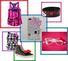 """hello kitty gang"" by leileiluvinnyuuuh ❤ liked on Polyvore"