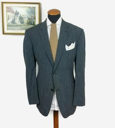 Mario Barutti Blazer size 48R Slim gr. 58 Silk Wool Linen Striped Grey Big