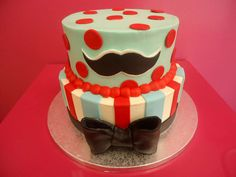 Mustache themed birthday cake www.bakedinmoore.com
