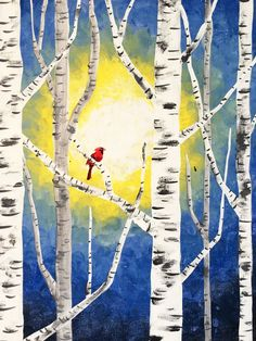 Cardinal in the Birches (V) at The Melting Pot - Paint Nite Events