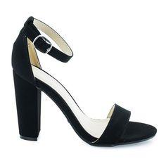 BlackNub classic high heel dress sandal w ankle strap chunky block heel Evening Sandals, Evening Shoes, Dress Sandals, Shoes Sandals, Dress Shoes, Ankle Strap Heels, Ankle Booties, Ankle Straps, Knee High Boots Dress