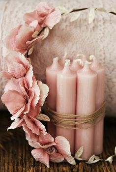 A Bundle of Pink Candles tied with Twine & Pink Rose Wreath ...