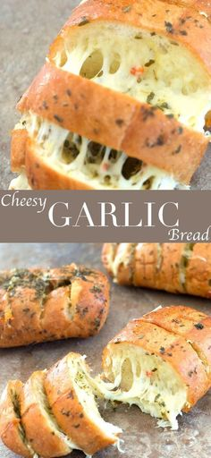 These cheesy garlic breads only take 20 minutes to make. Quick and easy sides for pasta night or pizza night. Use mini French Bread for best results. Cheesy Garlic Bread With Italian Spices - Healing Tomato Recipes Cheesy Garlic Bread, Garlic Cheese, French Garlic Bread, Healthy Garlic Bread, French Bread Pizza, Italian Spices, Italian Pasta, Italian Bread, Italian Biscuits