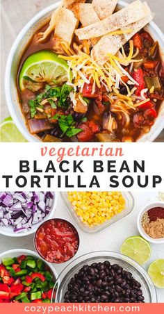 This vegetarian tortilla soup is made with black beans, pantry staples, and homemade crispy tortilla strips. This cozy soup is beyond easy to make in under 30 minutes. More from my siteSlow Cooker Black Bean Tortilla Soup Black Bean Tortilla Soup Recipe, Vegetarian Tortilla Soup, Tasty Vegetarian Recipes, Healthy Recipes, Veggie Recipes, Lunch Recipes, Vegetarian Black Bean Soup, Easy Vegetarian Lunch, Tortilla Soup Recipes