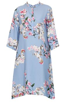 Blue floral printed A line shirt dress available only at Pernia's Pop Up Shop.#perniaspopupshop #shopnow #chiqueclothing#partyseason #happyshopping #designer #accessories