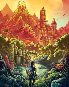 pixalry: Video Game Inspired Posters - Created by Dan Mumford Part of the Polygons and Pixels Art Show limited edition art prints available for sale at Dan Mumford, Pop Culture Art, Twilight Princess, Breath Of The Wild, Video Game Art, Anime, Illustrations, Illustration Styles, Legend Of Zelda