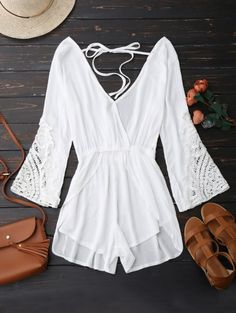 SHARE & Get it FREE | Plunge Low Back Linen Romper - WhiteFor Fashion Lovers only:80,000+ Items • New Arrivals Daily Join Zaful: Get YOUR $50 NOW!