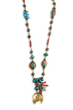 Caracol - Inspired Jewelry and Handbags - Brass Horse Head | Royston/Arizona Turquoise | Tibetan Coral Vintage Necklace | Caracol, $260.00 (http://www.caracolsilver.com/brass-horse-head-royston-arizona-turquoise-tibetan-coral-vintage-necklace-caracol/)