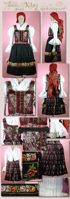 Straznice Moravia Kroj Bohemian Girls, Bohemian Art, Famous Saints, European Costumes, Famous Castles, Folk Costume, World Of Color, Beautiful Patterns, Czech Republic