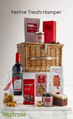 A delicious assortment of sweet and savoury snacks to be enjoyed by treat someone this christmas with a collection of traditional festive favourites all packed in a lidded willow picnic basket which can be kept and used solutioingenieria Image collections