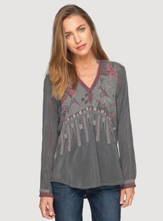 Johnny Was Embroidered Rayon Koko Blouse in Iron Steel Grey #bohochic #newin #johnnywas