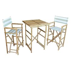 ZEW SET-007-6-23 1 High Square Table and 2 High Director Chairs, Celadon Stripes