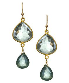 Philippa Roberts Jewelry Gold and Green Amethyst Station Drop Earrings