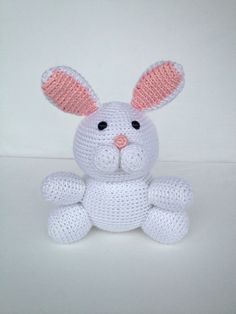 READY TO SHIP Crochet Easter Bunny Amigurumi Bunny Rabbit Doll Stuffed Animal Toy in White and Pink. $35.50, via Etsy.