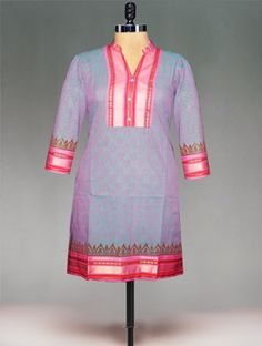 Gorgeous pale pink color Mangalagiri handloom cotton Kurta with pink floral block prints that'll make you look your glamorous best! Designed with mangalagiri handloom border, it features a man drain collar neck that gives it a regal touch! Luxuriant and tasteful,it's an ideal pick to wear to winter weddings!Accent your look with kundan jhumkaas. To buy online mangalagiri handloom cotton kurtas please visit our site http://www.unnatisilks.com