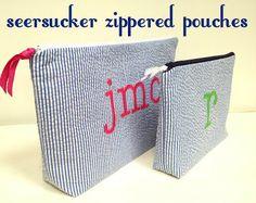 seersucker zipper bags