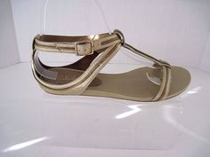 Cole Haan Nike Air Gold Bronze Leather Open Toe Ankle Strap Sandals 6 1/2 B  #ColeHaan #AnkleStrap