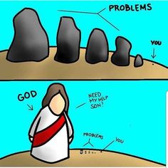 Jesus Christ is bigger than your problems. Cast your burdens on Him because He cares for you Prayer Quotes, Bible Verses Quotes, Bible Scriptures, Faith Quotes, Spiritual Quotes, Funny Christian Memes, Christian Humor, Miséricorde Divine, Image Jesus