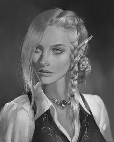 Elfen Fantasy, Fantasy Rpg, Fantasy Girl, Fantasy Portraits, Character Portraits, Fantasy Artwork, Dnd Characters, Fantasy Characters, Female Characters