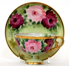 HAND PAINTED ROSES CUP & SAUCER