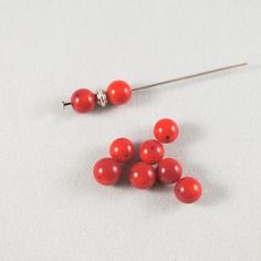 Lot de 8 perles en corail - rouge - 6mm