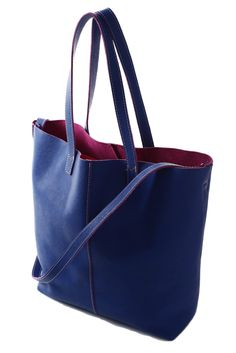 Type: Tote / Size: Large / Color: Blue, Maroon / Details: Two Straps / Material: Leather / Brand: Baci
