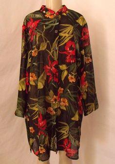 SUSAN GRAVER 1X Black Tropical Crinkle Duster Top Shirt Floral Long Tunic NEW #SusanGraver #Duster #Versatille