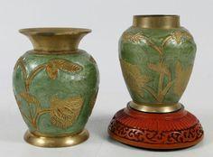 Set of 2 Vintage Asian Enamel on Brass Ornate Vase