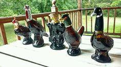 Vintage Lot of Five (5) Avon Figural Birds Cologne Bottles