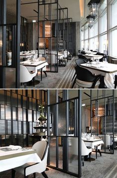 temporary divider idea could also work as grander front entrance the french window_restaurants_hong kong_by abconcept_modern_feature metal glass dividers - Travertine Restaurant Ideas