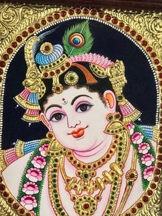 place to buy and sell all things handmade - Baby krishna Indian gift Tanjore painting Baby Krishna, Krishna Art, Krishna Lila, Indian Artwork, Indian Art Paintings, Ganesha Painting, Tanjore Painting, Small Canvas Art, Madhubani Art