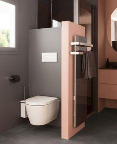 Associer le rose et le gris dans la déco des toilettes | My Blog Deco Modern Bathroom, Small Bathroom, Master Bathroom, Bathroom Pink, Modern Toilet, Boho Bathroom, Pink Toilet, Interior Decorating, Interior Design